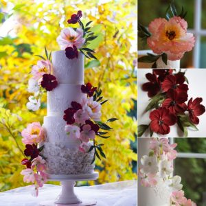 Gum Paste Flowers - Peonies, Dogwood, Cosmos, and Ruscus Leaves